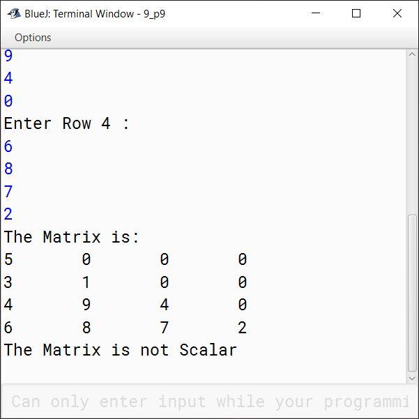 BlueJ output of KboatScalarMatrix.java