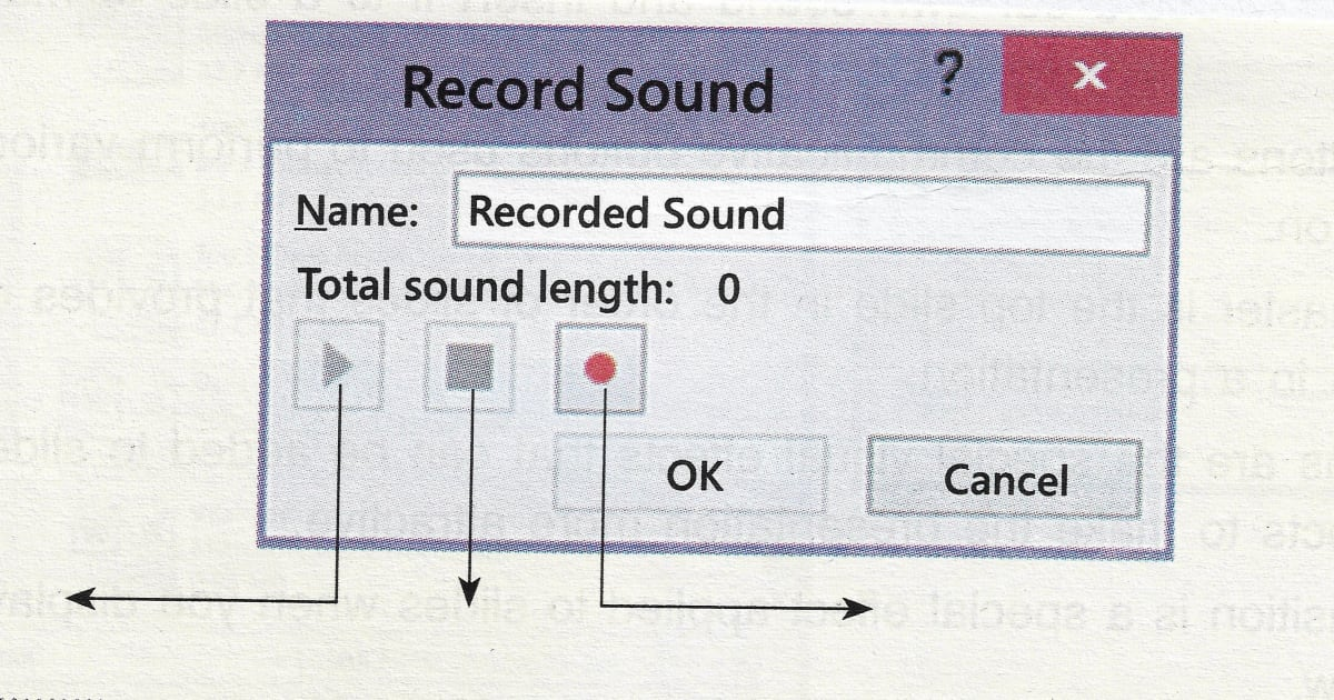 Class 6 ICSE Computer Studies Identify labelled buttons of a 'Record Sound' window.
