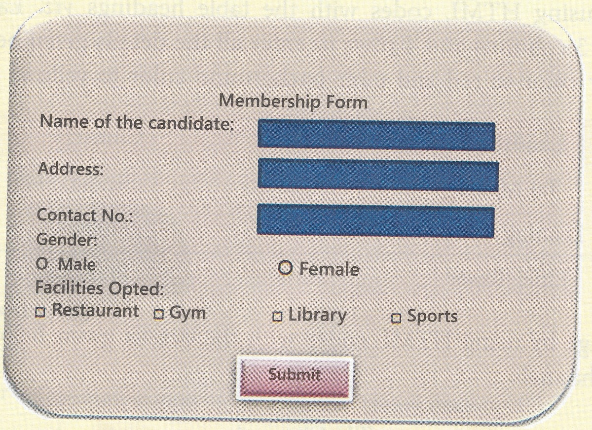 United club of Jamshedpur wants to create a form for online registration for membership. Write an HTML program to create form as shown above to help the club. Class 7 ICSE Understanding Computer Studies