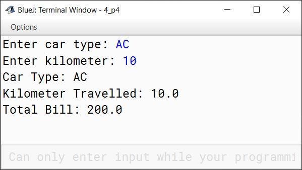 BlueJ output of CabService.java