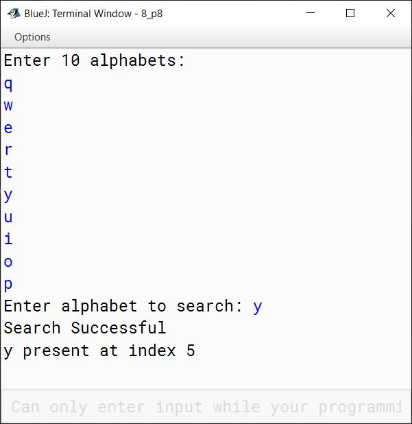 BlueJ output of KboatLinearSearch.java