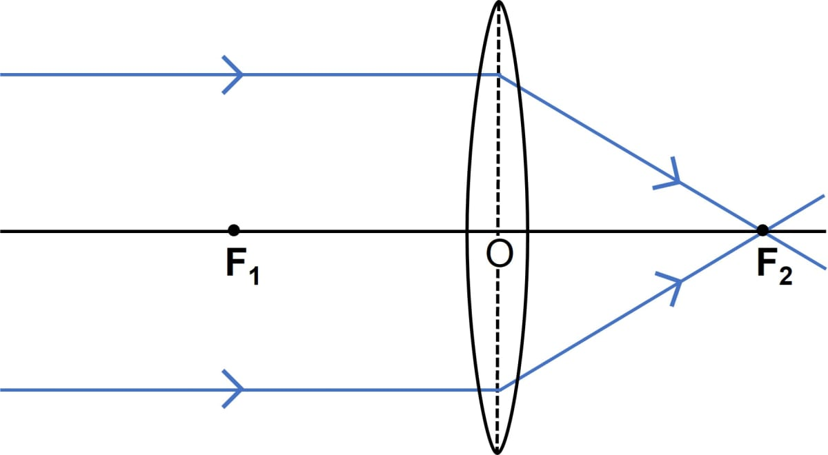 Draw a ray diagram to show how a converging lens can form an image of the Sun. Hence give a reason for the term burning glass for a converging lens used in this manner. Refraction through a lens, Concise Physics Class 10 Solutions.