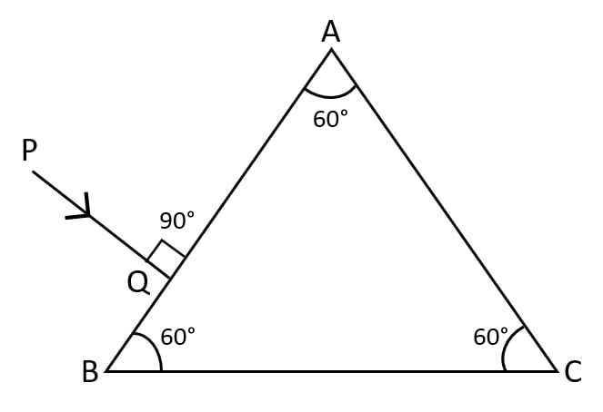 Copy the diagram given below and complete the path of the light ray till it emerges out of the prism. The critical angle of glass is 42°. In your diagram mark the angles wherever necessary. Refraction of light at plane surfaces, Concise Physics Class 10 Solutions.