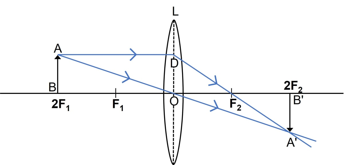 A convex lens forms an image of an object equal to the size of the object. Where is the object placed in front of the lens? Draw a diagram to illustrate it. State two more characteristics of the image. Refraction through a lens, Concise Physics Class 10 Solutions.