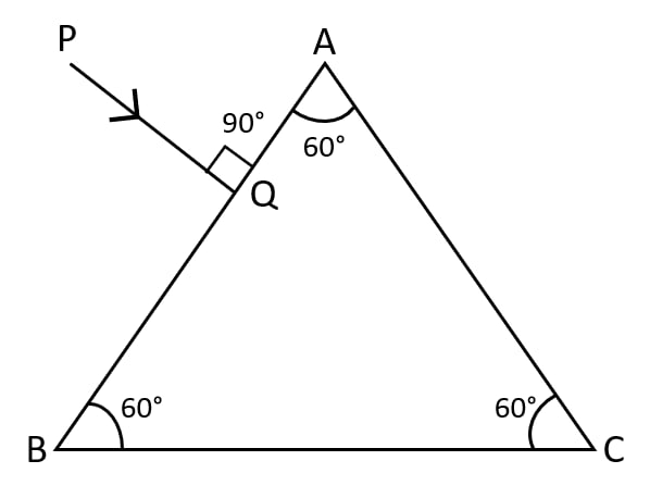 In the figure, a ray of light PQ is incident normally on the face AB of an equilateral glass prism. Complete the ray diagram showing its emergence into air after passing through the prism. Take critical angle for glass = 42°. Refraction of light at plane surfaces, Concise Physics Class 10 Solutions.
