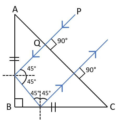 Draw a diagram of a right angled isosceles prism which is used to make an inverted image erect. Refraction of light at plane surfaces, Concise Physics Class 10 Solutions.