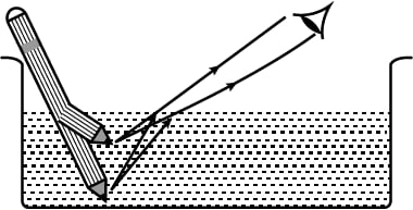 A student puts his pencil into an empty trough and observes the pencil from the position as indicated in the figure. Complete the diagram showing how the student's eye sees the pencil through water. What change will be observed in the appearance of the pencil when water is poured into the trough? Refraction of light at plane surfaces, Concise Physics Class 10 Solutions.