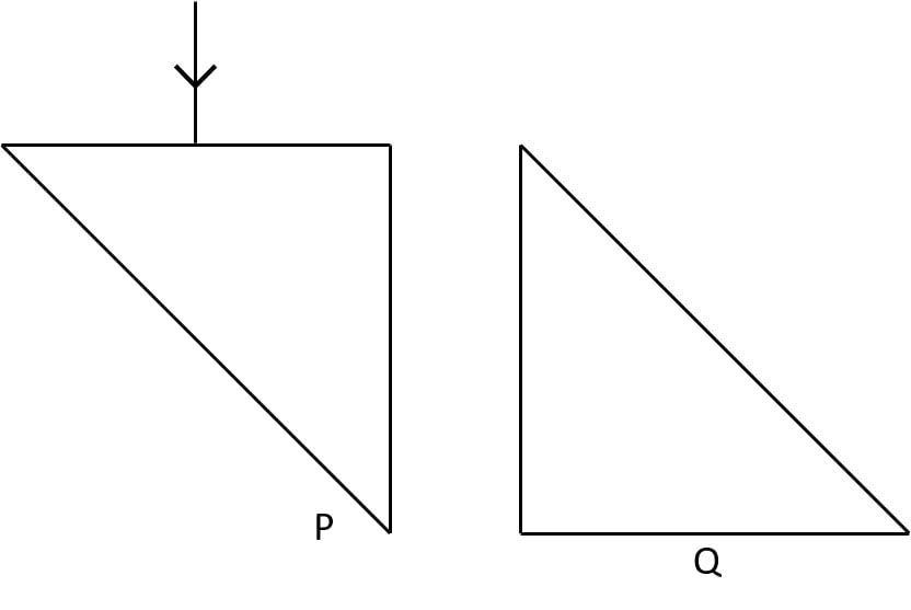 Two isosceles right-angled glass prisms P and Q are placed near each other as shown in figure. Complete the path of the light ray entering the prism P till it emerges out of the prism Q. Refraction of light at plane surfaces, Concise Physics Class 10 Solutions.