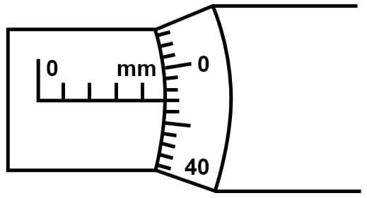 Figure below shows the reading obtained while measuring the diameter of a wire with a screw gauge. The screw advances by 1 division on main scale when circular head is rotated once. Find (i) pitch of the screw gauge (ii) least count of the screw gauge (iii) the diameter of the wire. Measurements and Experimentation, Concise Physics Solutions ICSE Class 9.