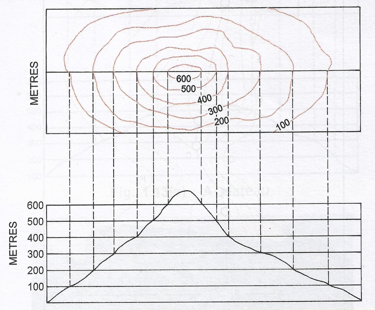 Draw a neat diagram of conical hill shown by contour. A Textbook of Geography Solutions ICSE Class 8
