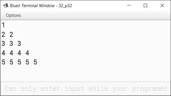 BlueJ output of Write a program in Java to display the following pattern: 1 2 2 3 3 3 4 4 4 4 5 5 5 5 5