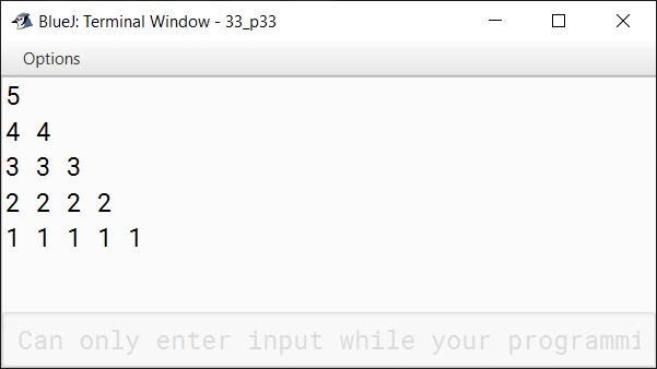 BlueJ output of Write a program in Java to display the following pattern: 5 4 4 3 3 3 2 2 2 2 1 1 1 1 1