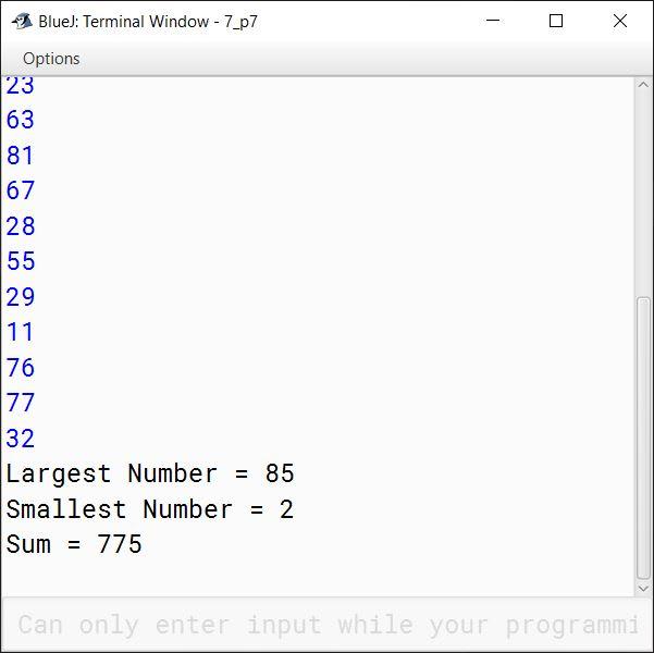 BlueJ output of KboatSDAMinMaxSum.java