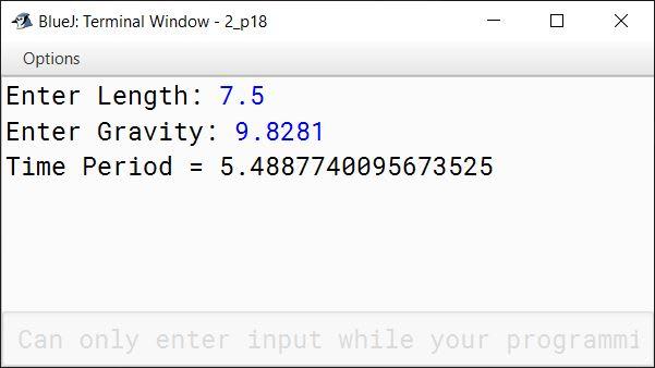BlueJ output of KboatSimplePendulum.java