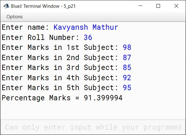 BlueJ output of KboatMarks.java