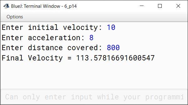 BlueJ output of KboatVelocity.java
