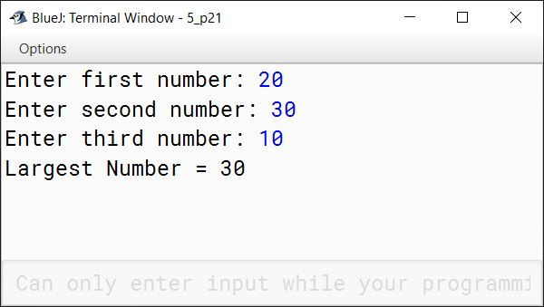 BlueJ output of KboatLargestNumber.java