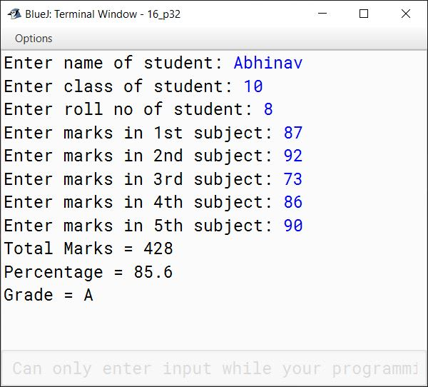 BlueJ output of KboatStudentGrades.java