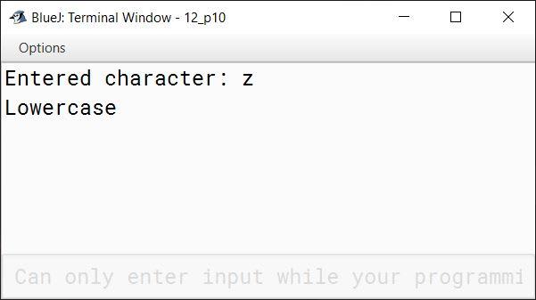 BlueJ output of KboatLetterCheck.java