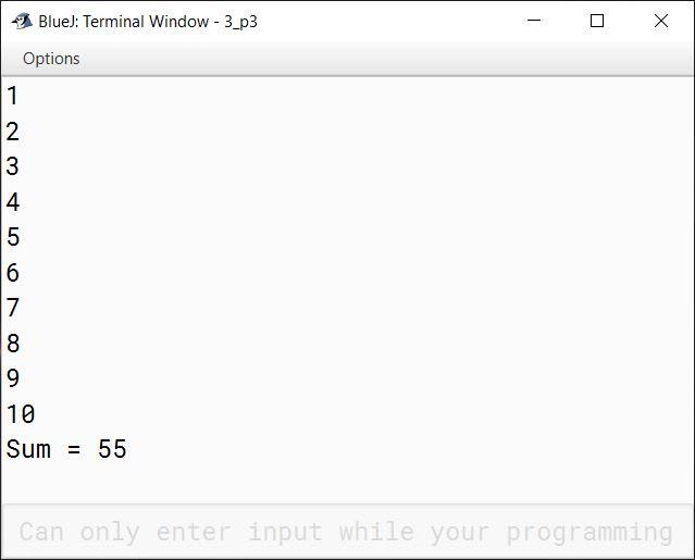 BlueJ output of KboatNaturalNumbers.java