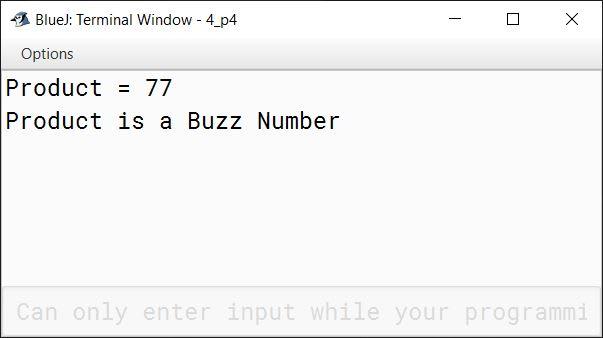 BlueJ output of KboatBuzzCheck.java
