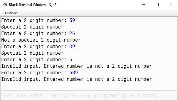 BlueJ output of KboatSpecialNumber.java