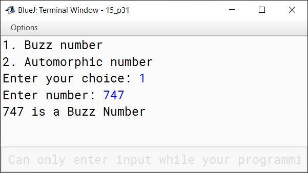 BlueJ output of KboatBuzzAutomorphic.java