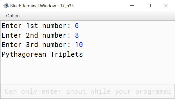 BlueJ output of KboatPythagoreanTriplet.java