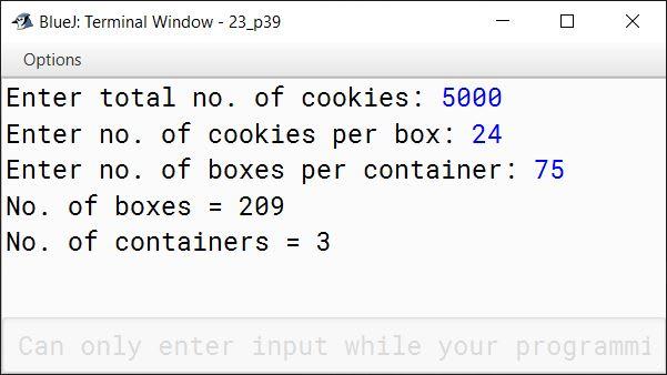 BlueJ output of KboatCookies.java