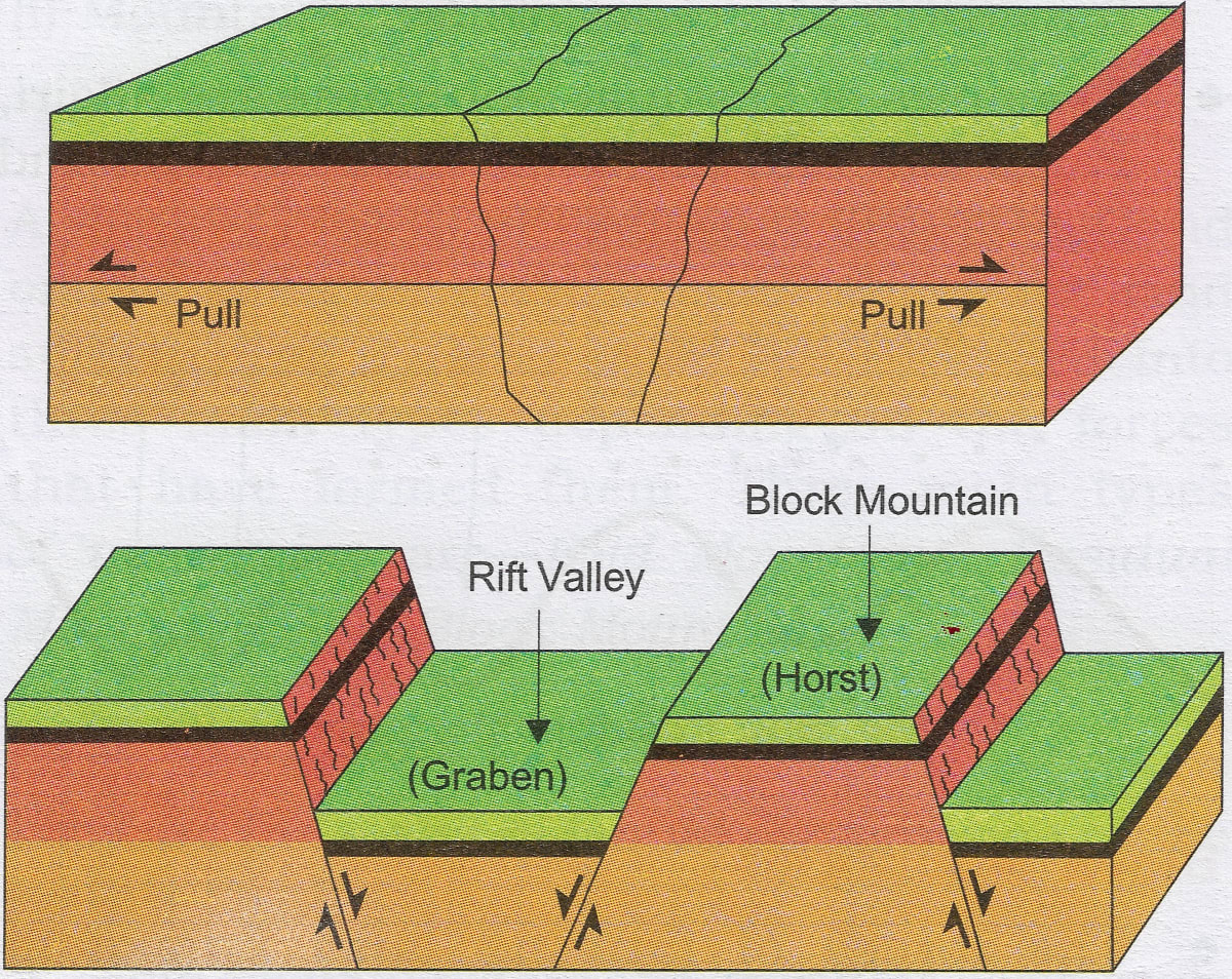 Draw a well labelled diagram to show the formation of block mountain. Earth's Landforms, Total Geography ICSE Class 9.