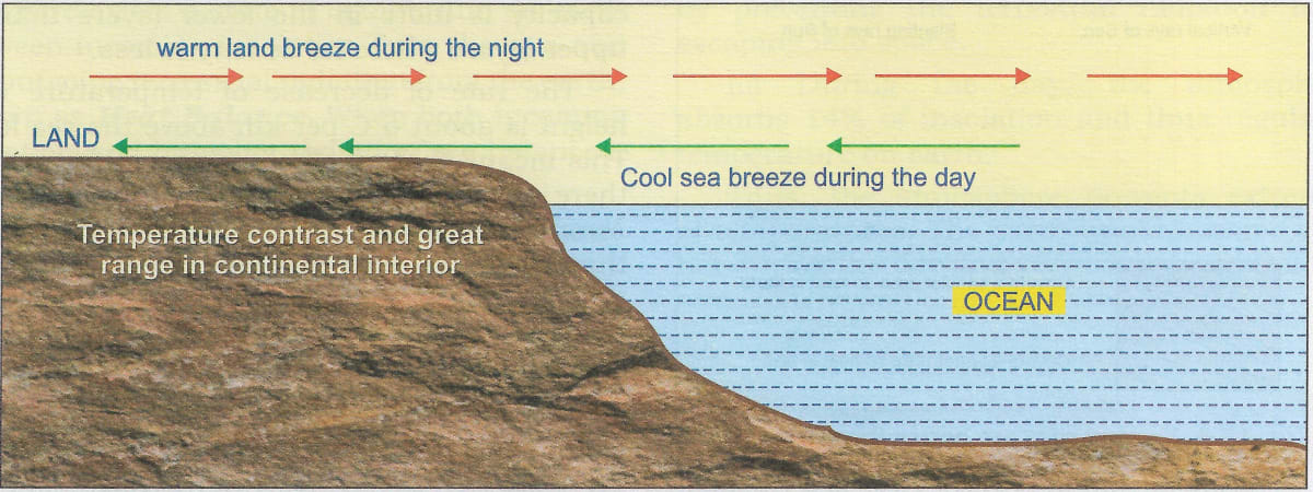 Draw a well labelled diagram to show the land and sea breeze. Insolation, Total Geography Solutions ICSE Class 9.