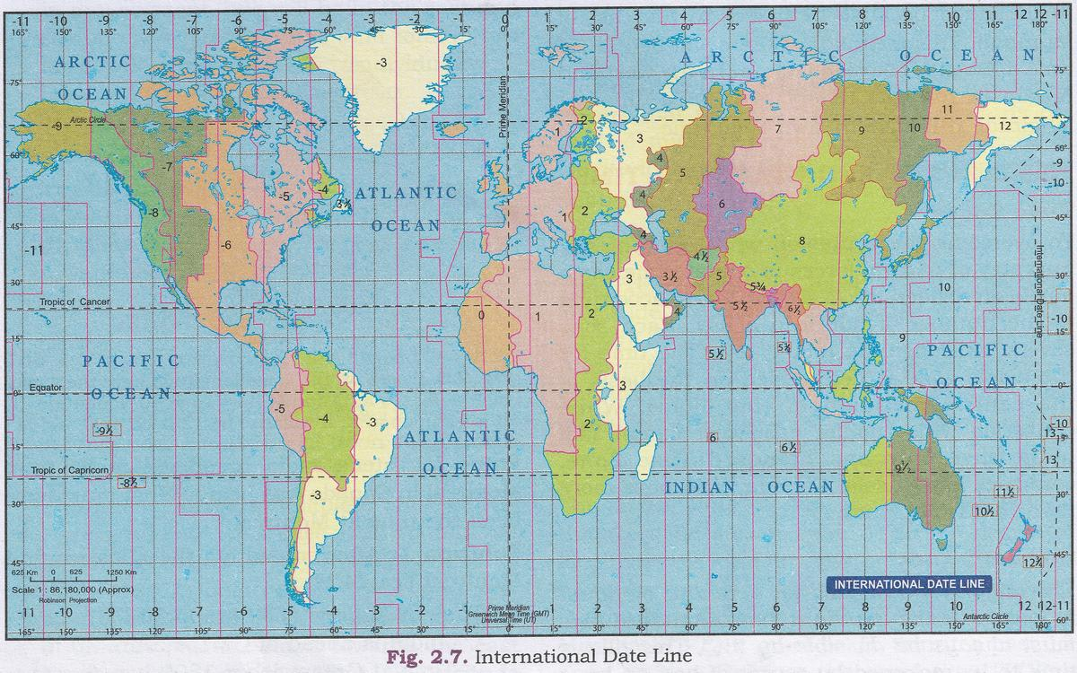 Map of Time Zones with International Date Line. Total Geography ICSE Class 9