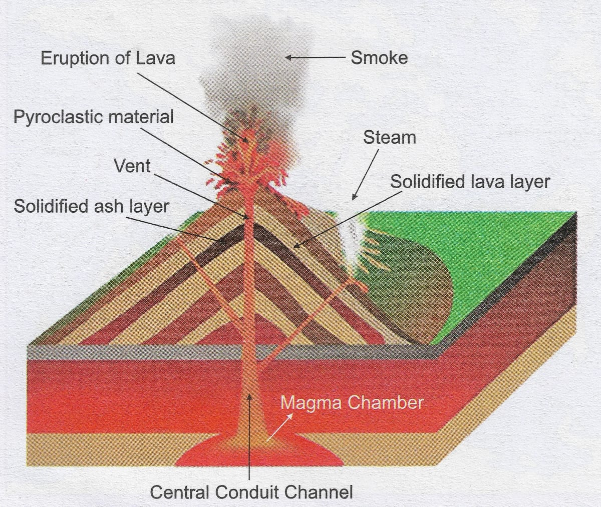 Draw a well labelled diagram showing the different parts of a volcano and the products erupted by it. Volcanoes, Total Geography ICSE Class 9.